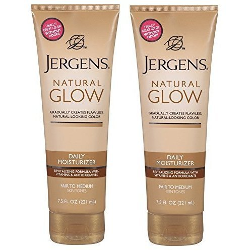Jergens Natural Glow Daily Moisturizer, Revitalizing, Fair to Medium Skin Tones, 7.5 Oz (Pack of 2) ()