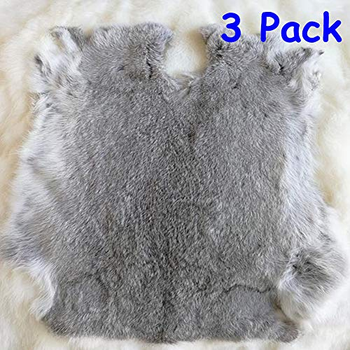 Natural Rabbit Fur Craft Grade Rabbit Pelts Sewing Quality Leather Rug Blanket,Cyan Gray,3 Pack