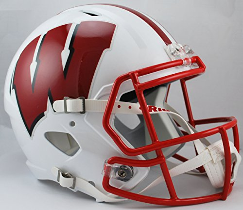 NCAA Wisconsin Badgers Full Size Speed Replica Helmet, Red, Medium by Riddell
