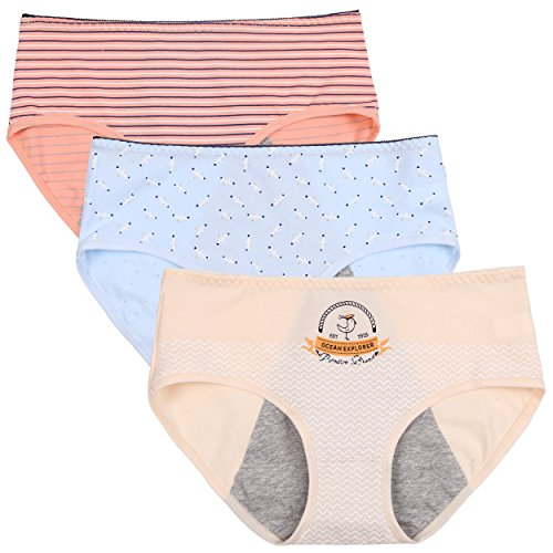 Innersy Big Girls' 3 Pack Mid Cut Flower Print Super Cute Menstrual Period Protective Cotton Panties Underwear(L, Style 2) - Cotton Print Briefs