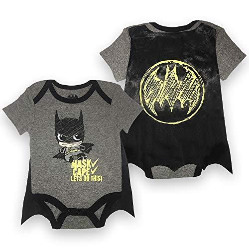 Infant Boys Batman Bodysuit Set - DC Comics Batman Short Sleeve Cape Onesie (Black/Grey, 3M-6M) ()