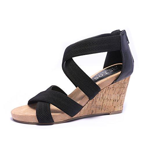 TOETOS Women's Solsoft_15 Black Low Platform Wedges Back Zipper Sandals Size 7 B(M) (Black Women Wedge Sandals)