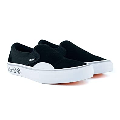 7c1584236130 Vans x Independent Slip-On Pro Sneakers (Black White) Mens Classic Skate