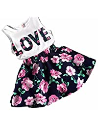 BBire Girls Love Letters Printed Sleeveless Vest Floral Skirt Set Clothes