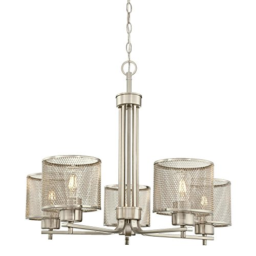 Westinghouse 6327500 Morrison Indoor Chandelier, Brushed Nickel Finish with Mesh Shades, Five Light Westinghouse Nickel Chandelier