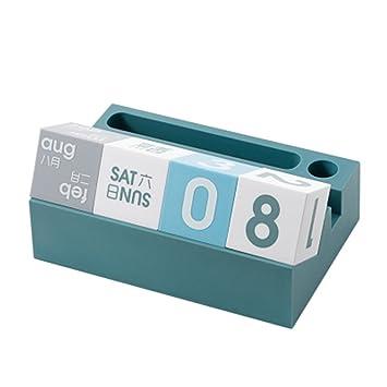 Ewiger Kalender W/ürfel Block Tischkalender Holzkalender Dauerkalender f/ür Zuhause B/üro Tischdeko Schreibtisch Dekoration Blau-Grau