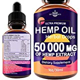 Hemp Oil Drops 50 000 mg, Co2 Extracted, Help Cope With Stress, Anxiety and Pain, 100% Natural Ingredients, Vegan Friendly, GMO Free, Made in USA Larger Image