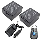 Amsahr S-DMWBLB13E-2CT Digital Replacement Battery Plus Travel Charger for Panasonic DMW-BLB13E with Lens Accessories Pouch, Pack of 2 (Gray)