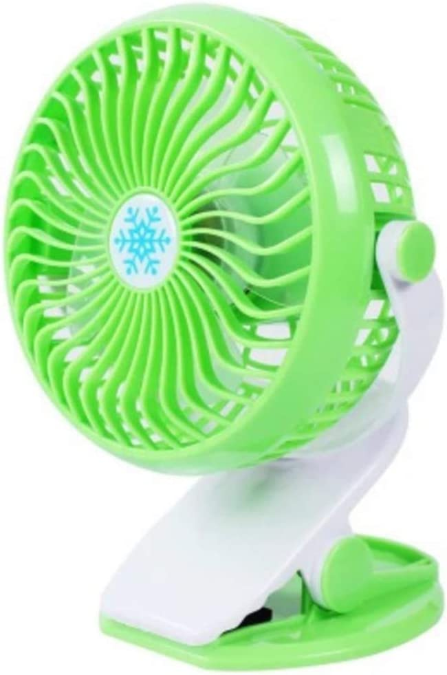 USB Powered Stroller Fan Green 360/° Rotate USB Fan Portable Cooling Fan with 3 Speed Personal Quiet Electric Fan for Home Office Camping- Black FENGLANG Mini Clip on Fan