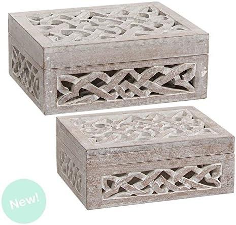 Dcasa - Cajas madera natural tallada rectangular: Amazon.es: Hogar