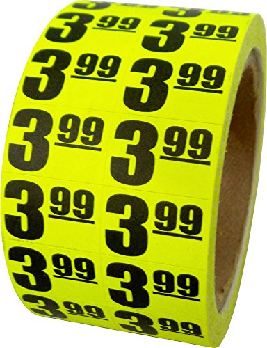$3.99 In-Store Use Day-Glo Yellow Display Labels 3/4