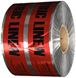 Detectable Underground Line Tape, Legend ''Caution Buried Electric Line Below'', 1000' Length x 6'' Width, Red