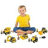 CAT Machine Maker Junior Operator Building Toy Set Includes Dump Truck, Bulldozer, Excavator, Car Service Truck and Wheel Loader, Machine Operators and Chunky Scredrivers