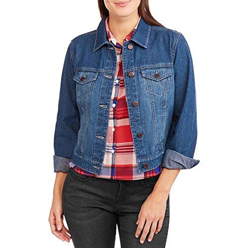 Faded Glory Women's Classic Denim Blue Jean Jacket (Small, Medium Wash)