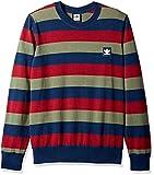 adidas Originals Men's Skateboarding Striped Sweater, Navy/Collegiate Burgundy/Base Green, L