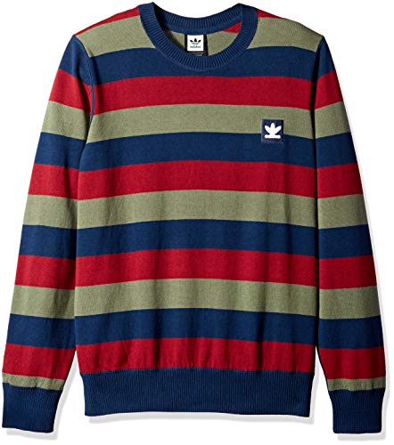 adidas Originals Men's Skateboarding Striped Sweater, Navy/Collegiate Burgundy/Base Green, -