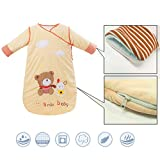 COFFLED Baby Sleeping Bag Sleep Sack Bag Sleepingbag Sleepwear Long Sleeves Perfect Kids Gifts in Winter 0-12 Months (Yellow)