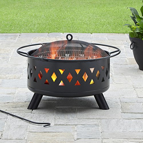 Catalina Outdoor Sofa (Black Rust Resistant Powder Coat Finish Heavy Duty Steel Construction Fire Pit)