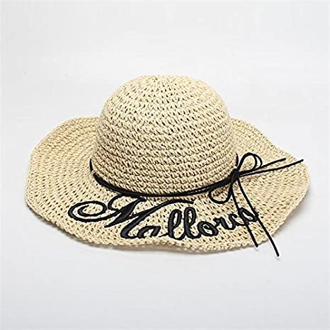 Meaeo Summer Sun Hats For Women Letter Mallorca Embroidery Beach Hat Foldable Straw Hats