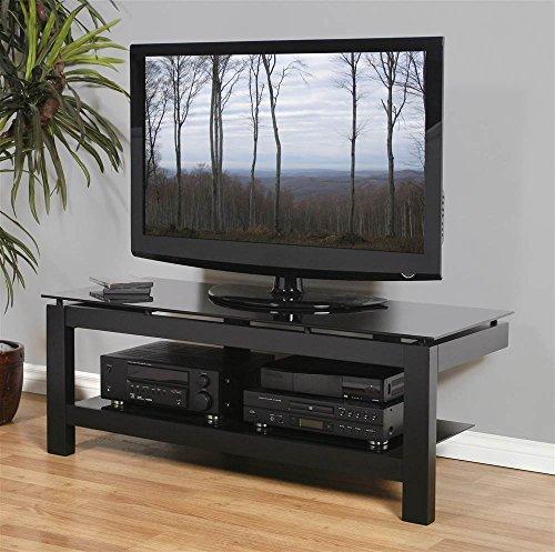 (Plateau SL-2V 50 B BG Wood and Glass TV Stand, 50-Inch, Black Satin Paint Finish)