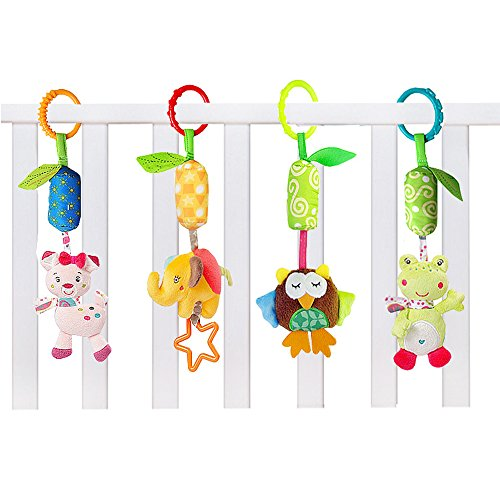 GFun 4 Pack Baby Infant Plush Animal Rattle Car Seat Adorable Hanging Bell Puppet Handbells Toy Stroller Crib Pram Ornament with Wind Chime and Squeak for Kids by GFun
