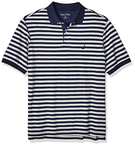 (Nautica Men's Big and Tall Classic Fit Short Sleeve 100% Cotton Stripe Soft Polo Shirt, Navy, 4X)