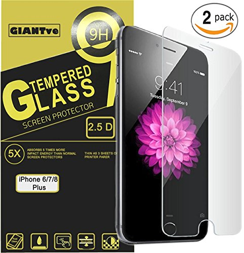 Price comparison product image iPhone 8 Plus iPhone 7 Plus Screen Protector Vickro Tempered Glass Film Case Friendly for Apple iPhone 8 Plus and iPhone 7 Plus 5.5-Inch