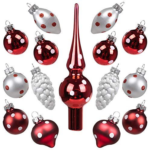Miniature Ornaments and Tree Topper Kingyee Christmas Mini Glass Tree Decorations Set of 15 for Tabletop Desktop Tree Wedding Centerpiece (Red and White Polka Dots)