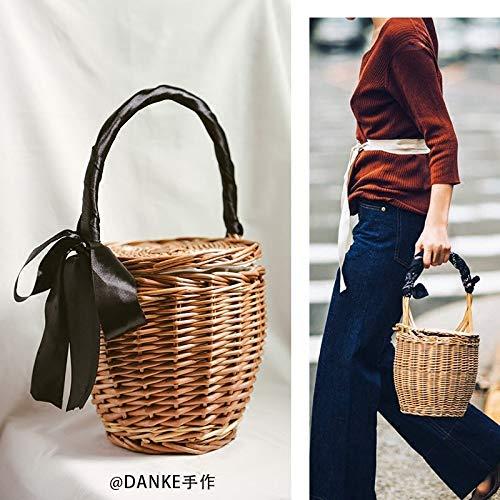 Woven Hand Fan - Top-Handle Bags - Straw Bag New Summer Basket Basket Japan Handbag Bucket Bag Woven Hand Woven Rattan Straw Bag Beach Bag A4529