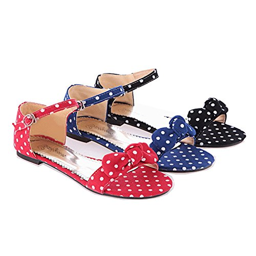 Nonbrand Canvas polka dot bow flat sandals ankle strap shoes Red l4AlXUjoC