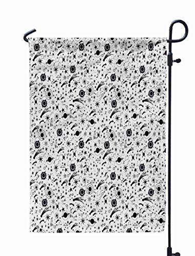 Shorping Welcome Garden Flag, 12x18Inch Draw Pattern The Night Sky Sun Comets Planets Boho Style Ornament Can Be Used Fabric Paper Textiles for Holiday and Seasonal Double-Sided Printing Yards Flags