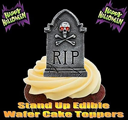 halloween rip gravestones skull scary fun novelty premium stand up edible wafer paper cake toppers