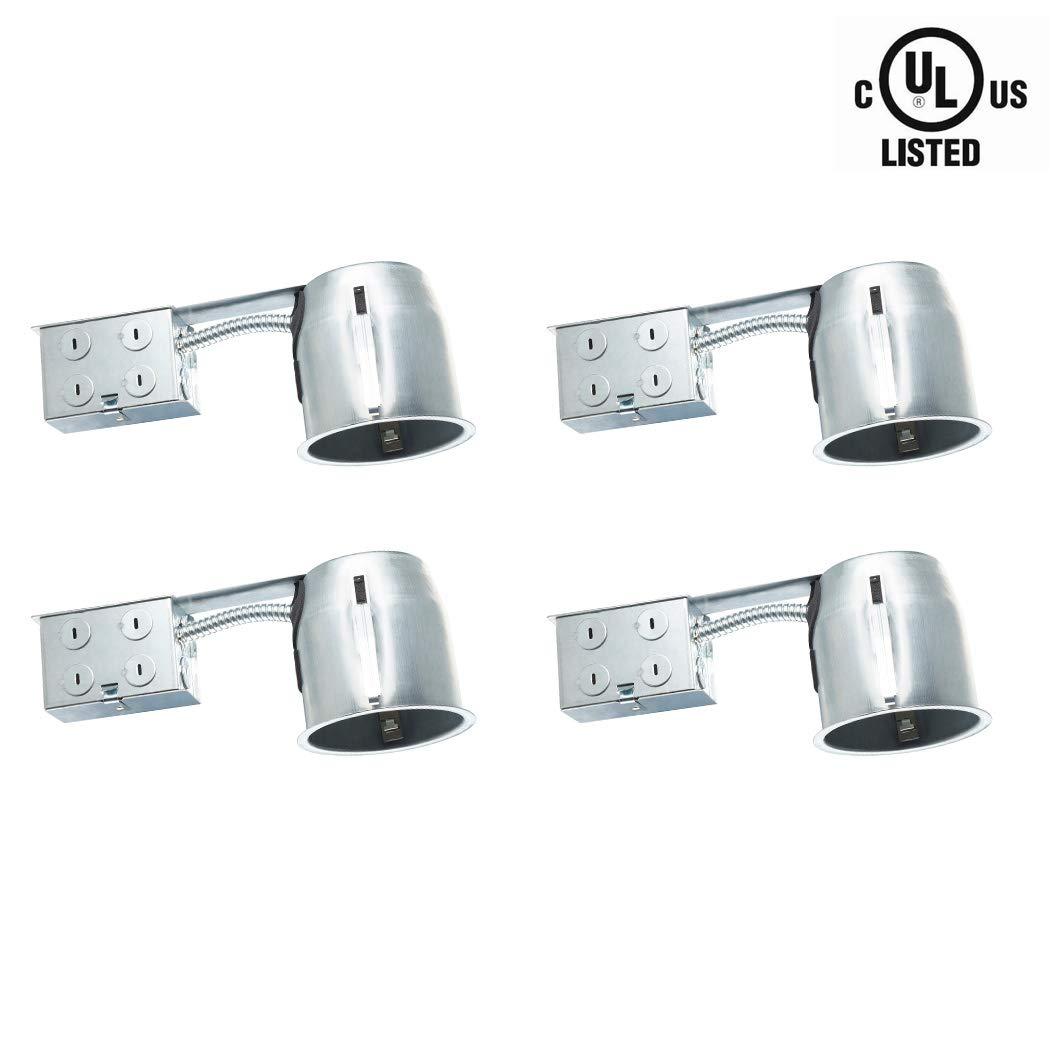 Otronics 4 Pack 4 Inch Led Recessed Light Can, Led Housing Can, New Construction Air Tight IC Rated 4'' Can Light Housing, UL Listed Recessed Lighting Kit with E26 Connector