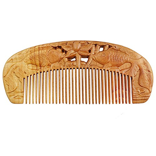 Seamless Peachwood Dome Hair Comb w/Carved Carp Fishes and Lotus