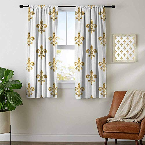 youpinnong Fleur De Lis, Curtains Thermal Insulated, Vintage Stylized European Lily Aristocratic Dignified Majesty Artful Print, Curtains Nursery, W84 x L72 Inch Yellow White