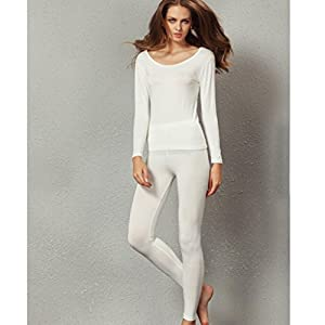 Liang Rou Women's Crewneck Long Johns Ultra Thin Thermal Underwear Set Off-White M