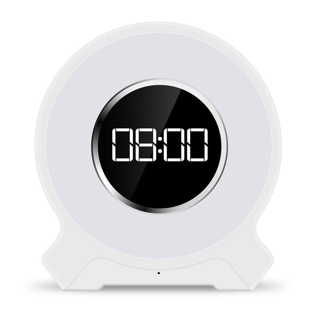 Autoor 7 Colors Bedside Wake-Up Light Alarm Clock Sunrise Electronic Alarm Clock with LED display,Wireless Speaker, FM Radio, TF Card Play,Audio AUX Cable and Intelligent Timing product image