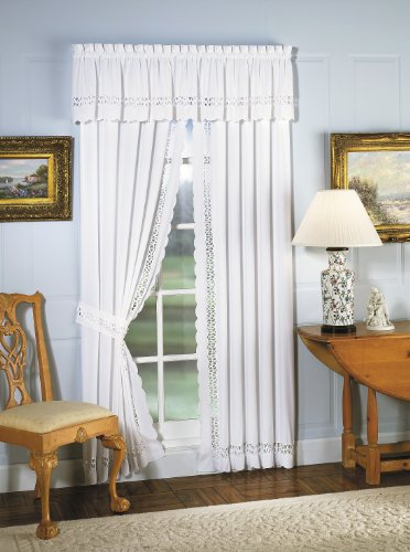 Cheap Today's Curtain Hellina Tapework Window Panel Pair and Tieback, 63-Inch, White