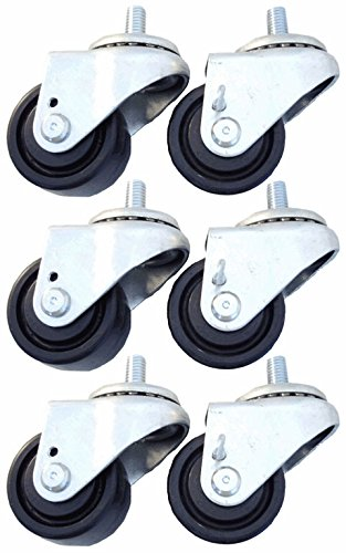 """2 1/2"""" Caster Set of 6 for True Refrigerators, Brakes, Polyolefin Wheels from Access Casters Inc."""