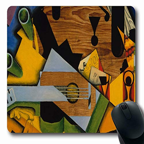 Ahawoso Mousepads for Computers Glass Blue Newspaper Still Life Guitar by Musical Juan Gris Cubist Green Spanish 20Th Century Artwork Oblong Shape 7.9 x 9.5 Inches Non-Slip Oblong Gaming Mouse Pad