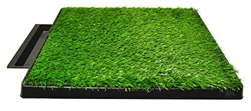 Downtown Pet Supply Dog Pee Potty Pad, Bathroom Tinkle Artificial Grass Turf, Portable Potty Trainer (20 x 25 Inch with Drawer)