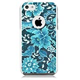 Unnito iPhone 5C Case - Hybrid Commuter Case | Slim Cover with Hard Shell Design and Soft Inner Layer Compatible with iPhone 5C White Case - Floral Blue