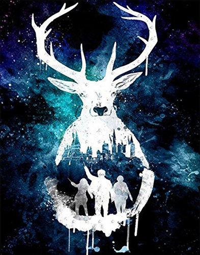 Christmas Reindeer Diamond Painting Kit for Adults 5D Full Drill DIY Arts & Crafts Bling Artwork Decor Gift Set with Crystal Rhinestone Gems 12x16