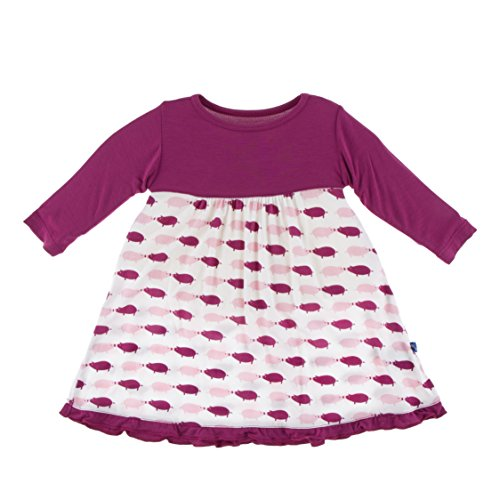 Kickee Pants Little Girls Solid Classic Long Sleeve Swing Dress, Natural Pig, 2T (Pigs Kickee)