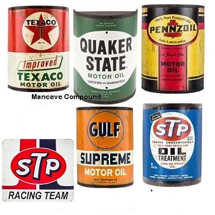 Colección de cinco Metal mitad aceite latas Pennzoil Golfo Texaco Quaker estado garaje decoración