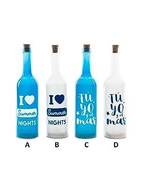 Botella Azul y Blanca de Cristal con Cinco Leds Hogar y Más - C