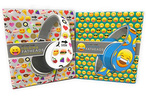 Emoji emoticon Earphones Flatheads Foldable Noise Cancelling iPhone Samsung Galaxy Smartphone HTC Stereo Headset Headphones BUNDLE OF 2 (Halloween Emoticons For Iphone)