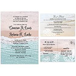 Beach Wedding Destination Shoreline Invitations set of 20