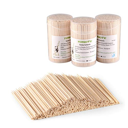 Bamboo Toothpicks 3.5 Inch, Wooden Round/Long/Large Toothpick - Wood Ornate Kokeshi Style Skewers for Party, Appetizer, Olive, Barbecue, Fruit Picks and Teeth Cleaning. 1020 PCS (3 Packs of 340)