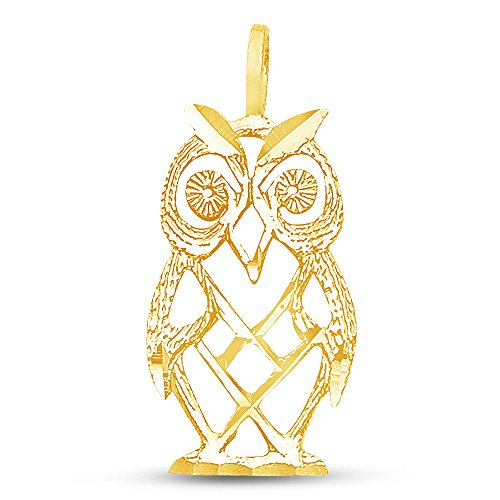 Sonia Jewels 14K Yellow Gold Diamond-Cut Ornate Owl Pendant Charm (19x11 mm)